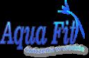 Projekt logo dla Aqua Fit. Firma prowadzi zajęcia z aqua aerobiku i naukę pływania.
